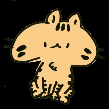 おすわりしてるトラ模様の猫のイラスト
