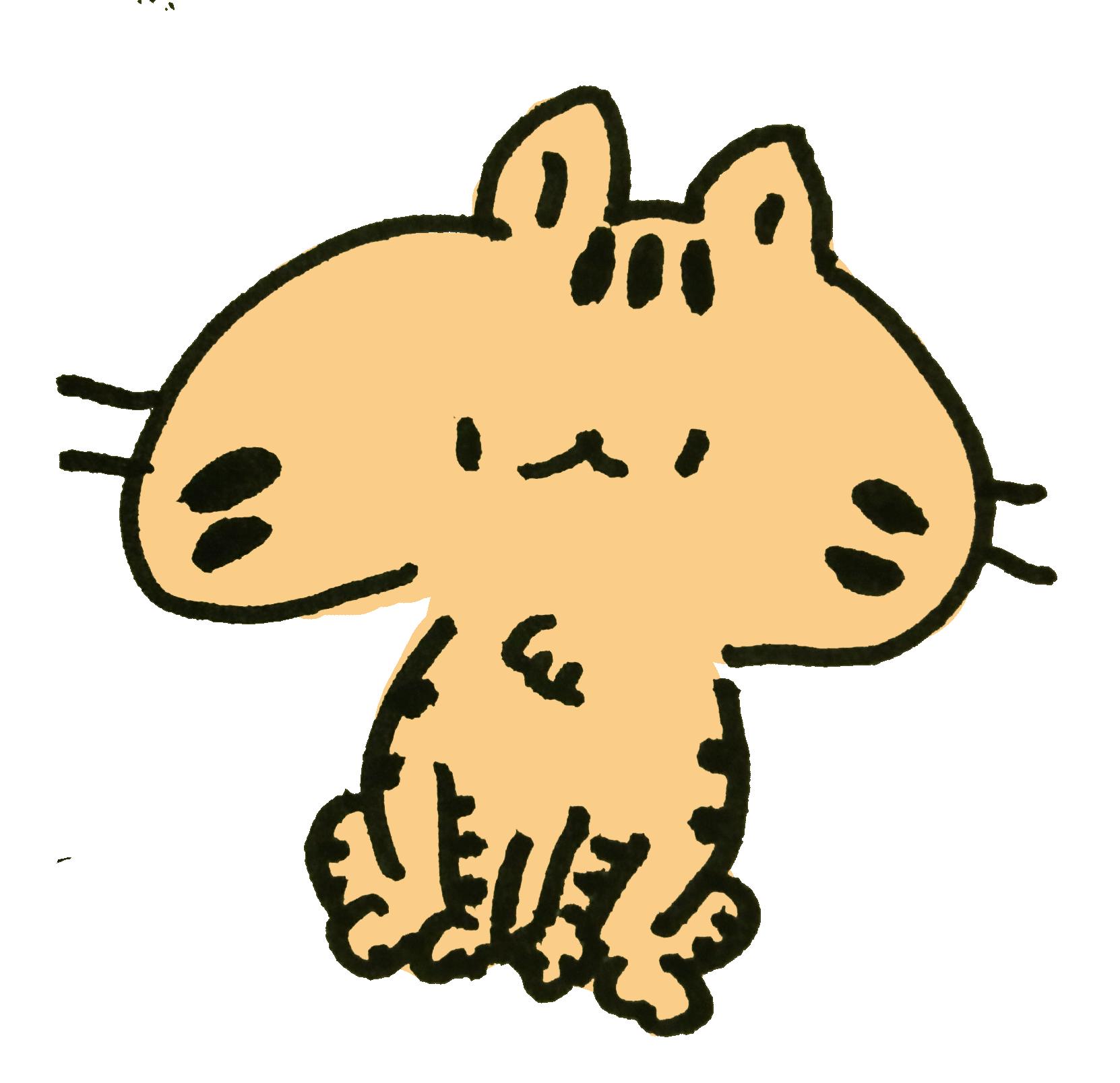 おすわりしてるトラ模様の猫のイラスト ゆるくてかわいい無料イラスト