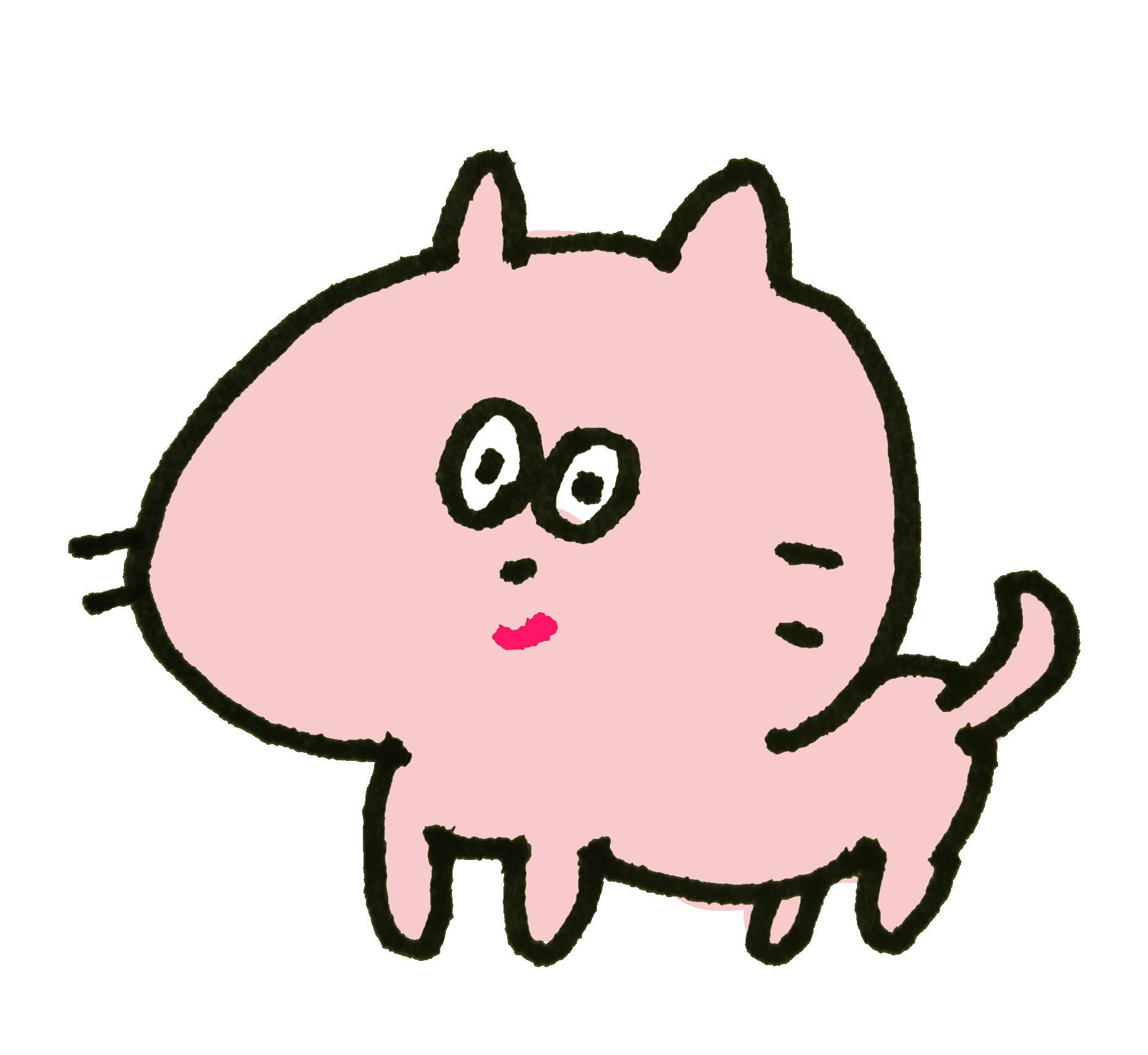 目の丸いピンクの猫