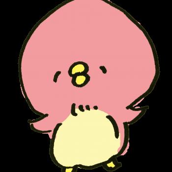 ピンク色のぺんぎんのイラスト