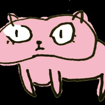 ぽっちゃりなピンクの猫のイラスト