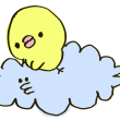 雲に乗るひよこ