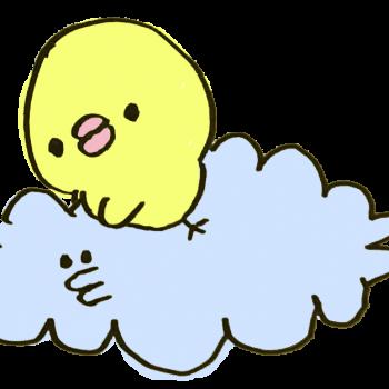 雲にまたがるひよこのイラスト