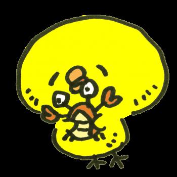 笑うひよこと笑わないカニのイラスト