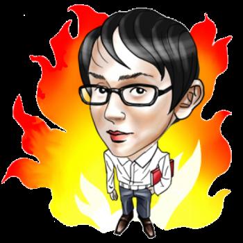 燃えるイケダハヤトさんのイラスト