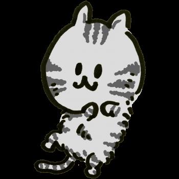 「さあ、腹をなでてもいいんだよ?」と待つアメショー猫のイラスト