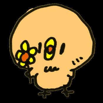 花を持つひよこのイラスト