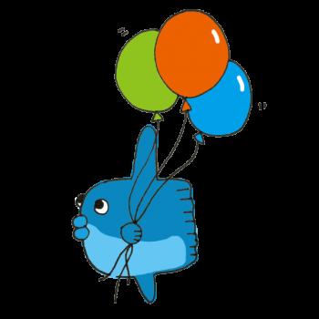 風船を持つマンボウのイラスト