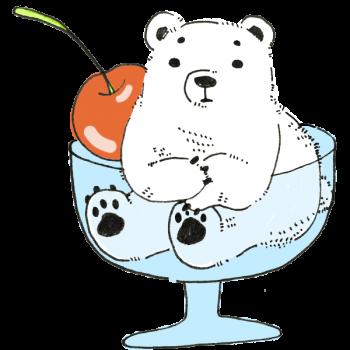スイーツのように盛られた白熊のイラスト