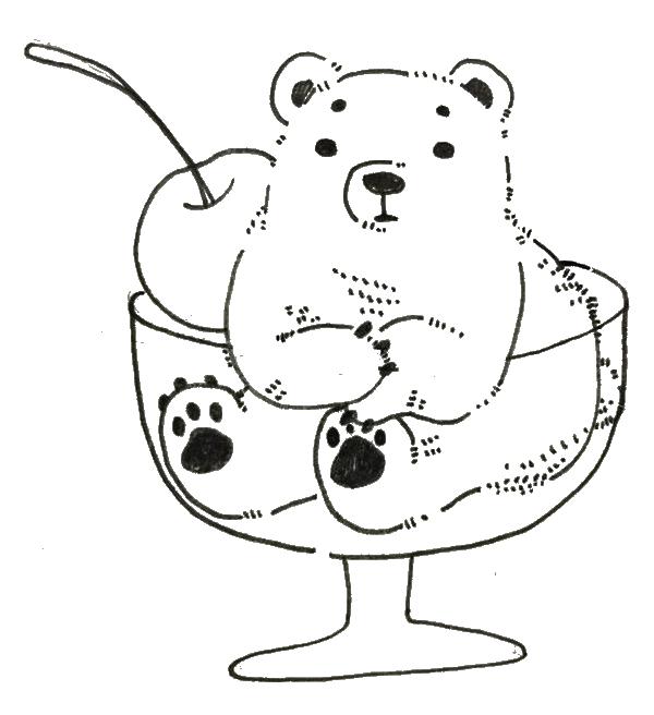 スイーツのように盛られた白熊のイラスト ゆるくてかわいい無料