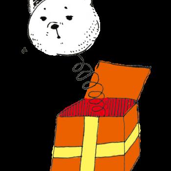 プレゼントから白熊がびよーんのイラスト