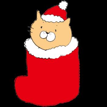 クリスマス用の赤い長靴にうもれた猫のイラスト