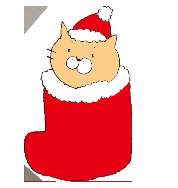 クリスマス用の赤い長靴にうもれた猫のイラスト ゆるくてかわいい無料