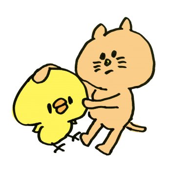 ひよこをペタペタ触る猫のイラスト