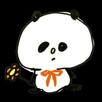 花をつかんで座るパンダのイラスト