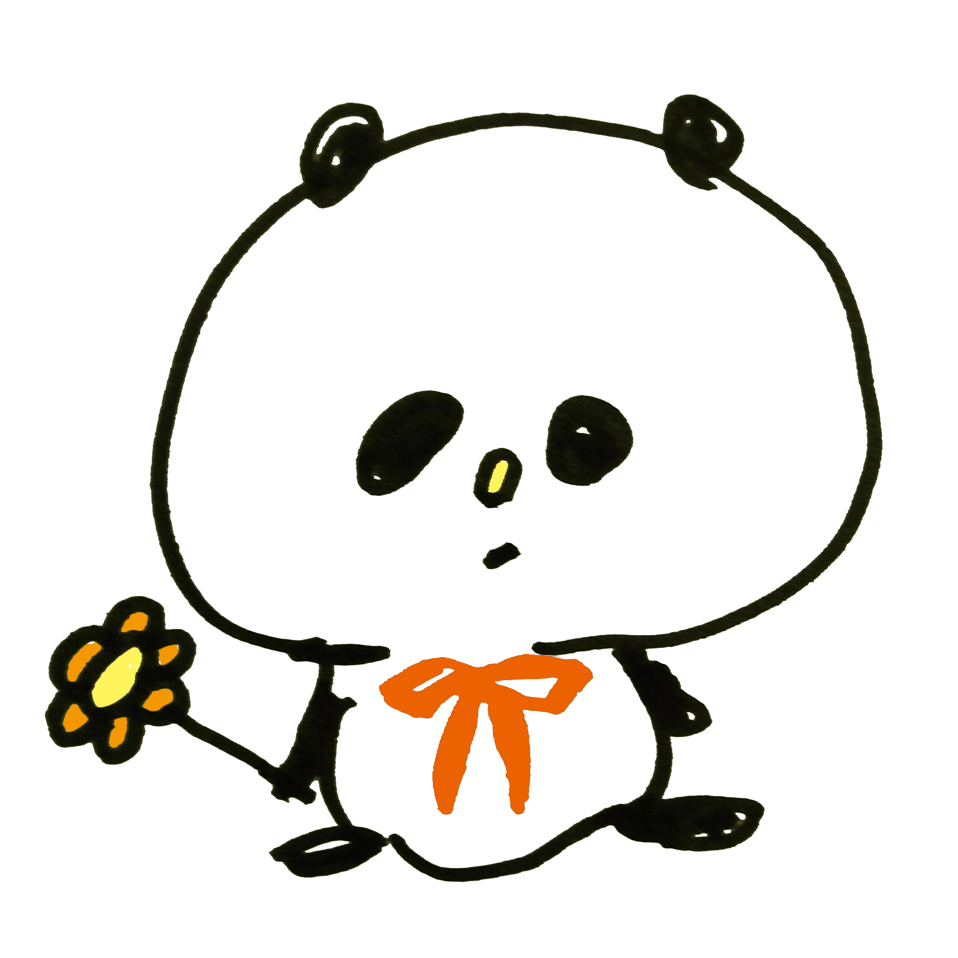 花を持つパンダ