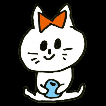 大きなリボンをつけた猫のイラスト