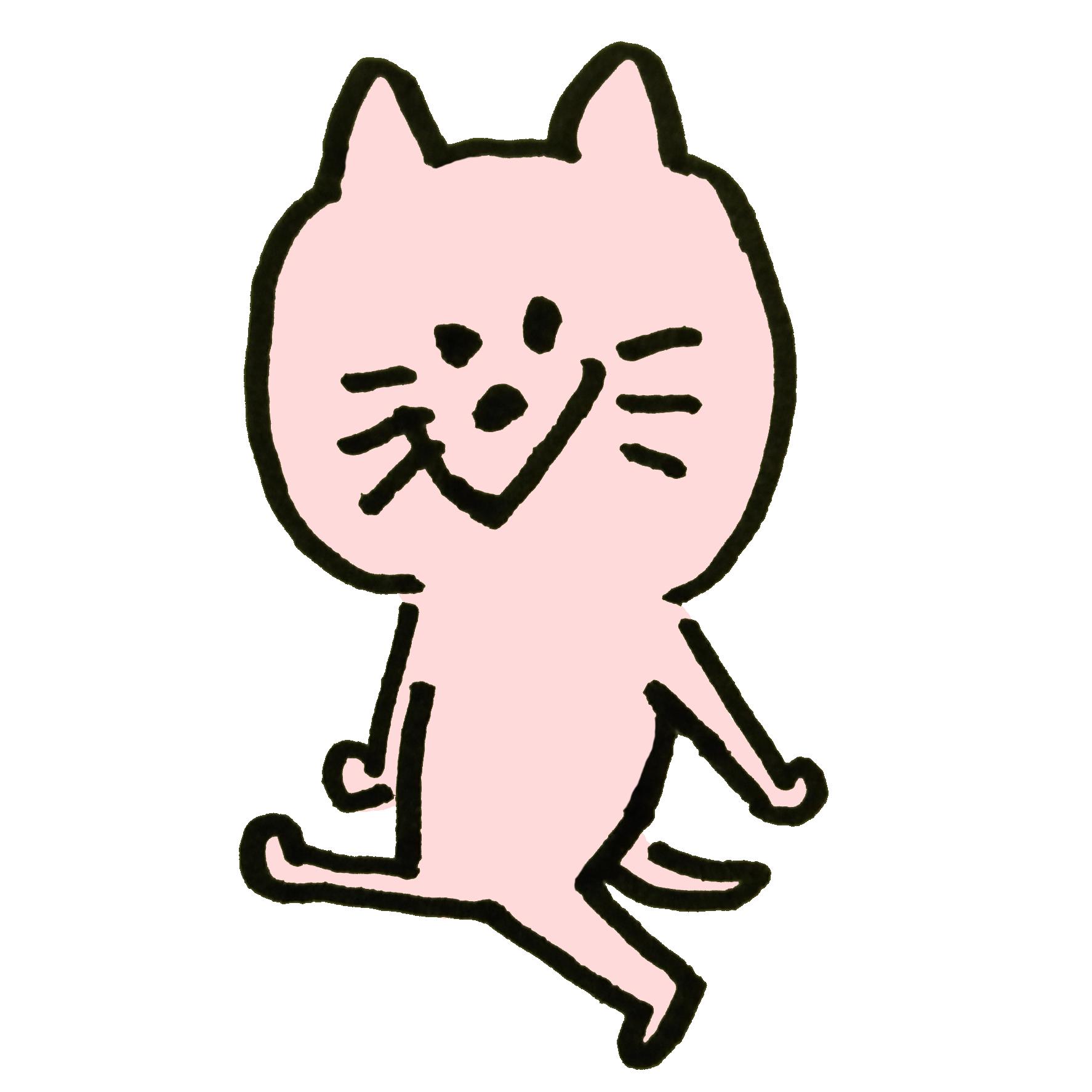 ニヤニヤ笑う猫のイラスト | ゆるくてかわいい無料イラスト素材屋