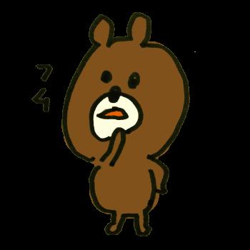 腰に手を当てて納得する熊のイラスト