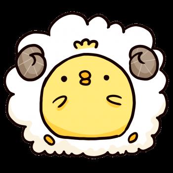 羊の毛をまとったひよこのイラスト