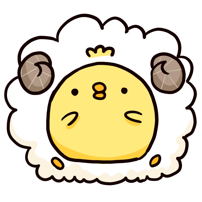 羊の毛をまとったひよこのイラスト ゆるくてかわいい無料イラスト素材