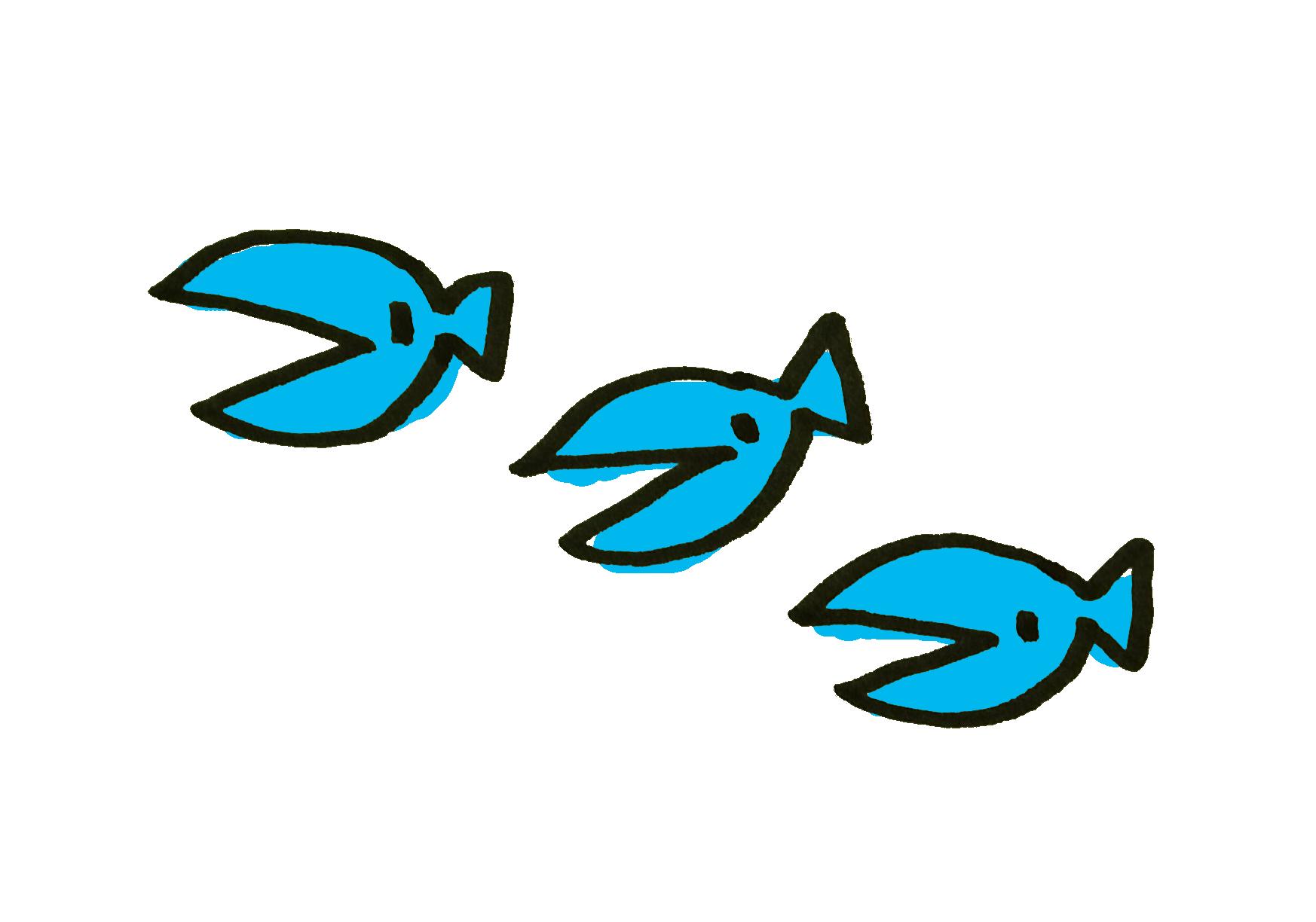 3匹の小魚さんのイラスト | ゆるくてかわいい無料イラスト素材屋