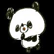 驚くパンダ
