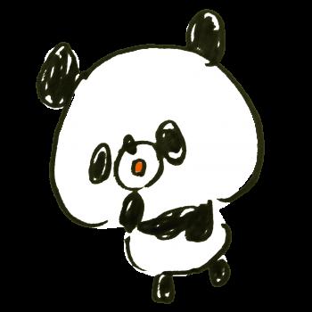 「おっ」と驚くパンダのイラスト