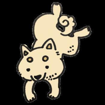 ぴょんと飛ぶ犬のイラスト