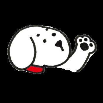 手をあげて説明する犬のイラスト