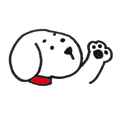 手をあげる白い犬