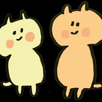 笑顔の猫二匹のイラスト