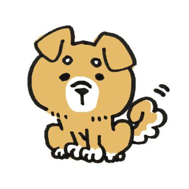 お座りする耳の垂れた柴犬のイラスト