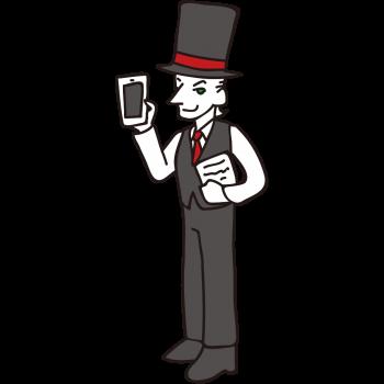 スマートフォンで効率的に仕事ができる紳士のイラスト