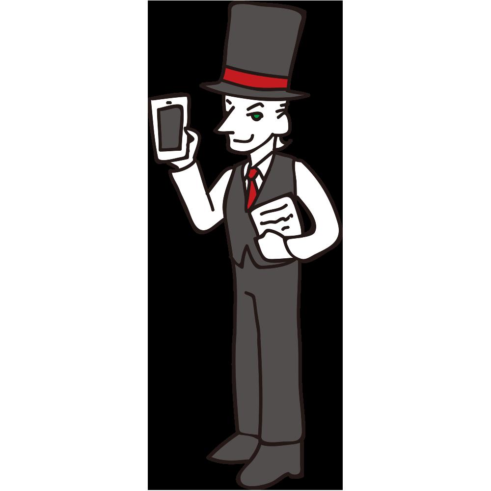 スマートフォンで効率的に仕事ができる紳士