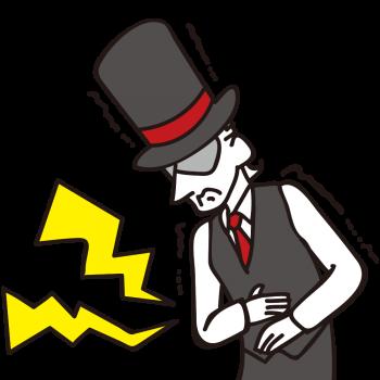 ストレス性の胃痛に耐える紳士のイラスト