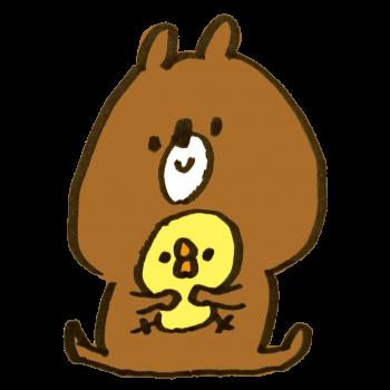ひよこを抱く熊のイラスト