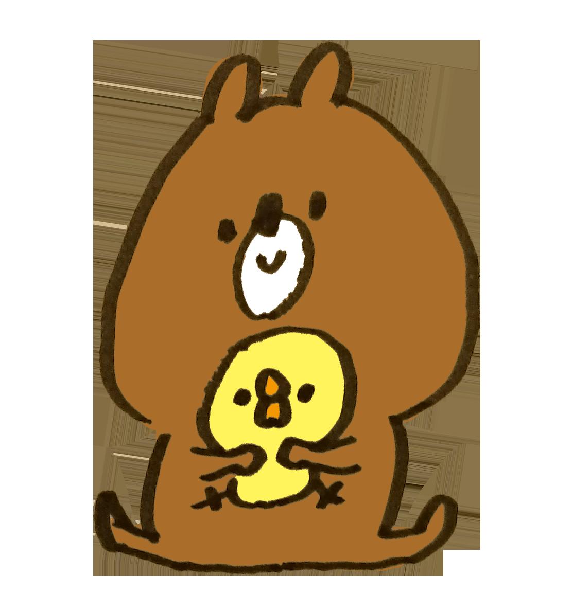 ひよこを抱く熊