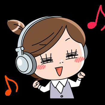 音楽を聴いてノリノリのOLのイラスト