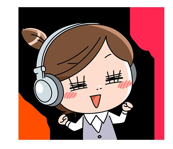 音楽を聴いてノリノリのOL