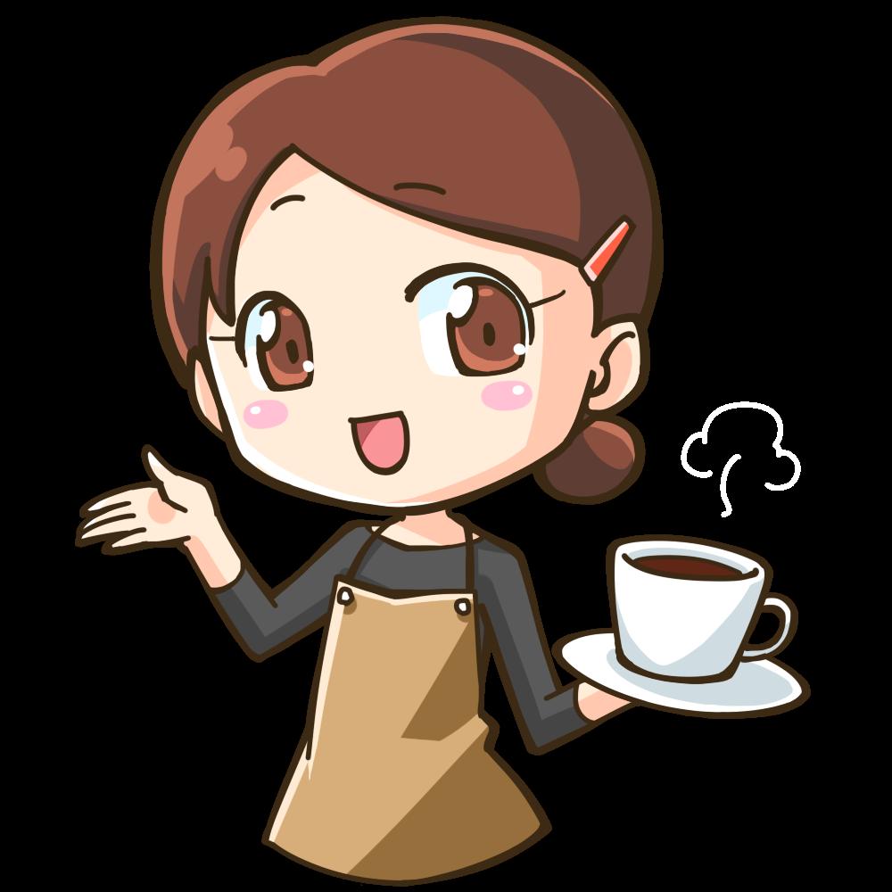 コーヒーを持ってようこそこちらへと迎える女性のイラスト ゆるく