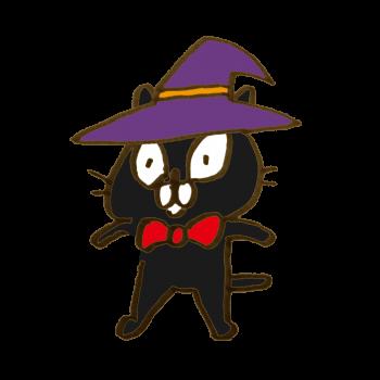 ハロウィンの帽子をかぶった黒猫のイラスト