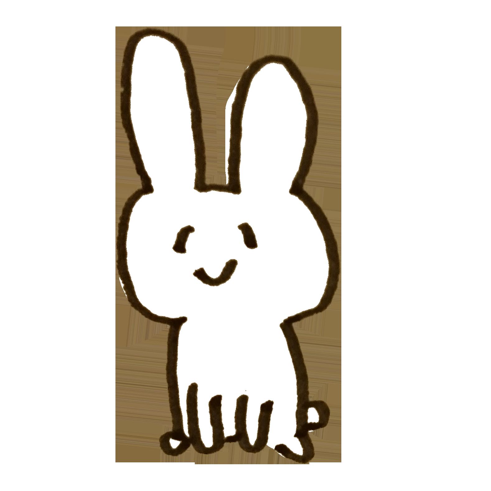 白い笑顔のウサギのイラスト | ゆるくてかわいい無料イラスト素材屋
