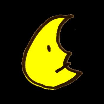 無表情な月のイラスト