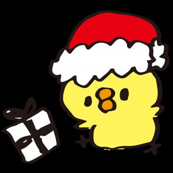 クリスマスプレゼントをくばるひよこのイラスト