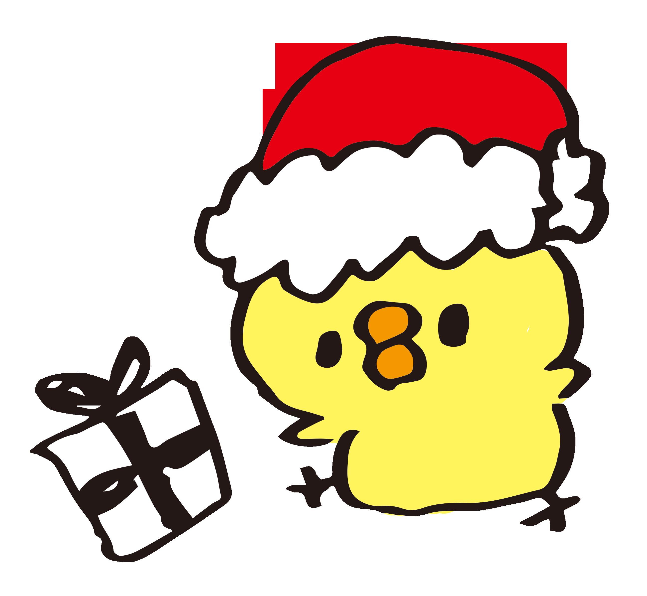 クリスマスプレゼントをくばるひよこ