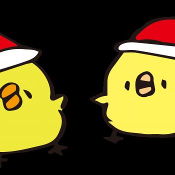 クリスマス気分の丸っこいひよこのイラスト