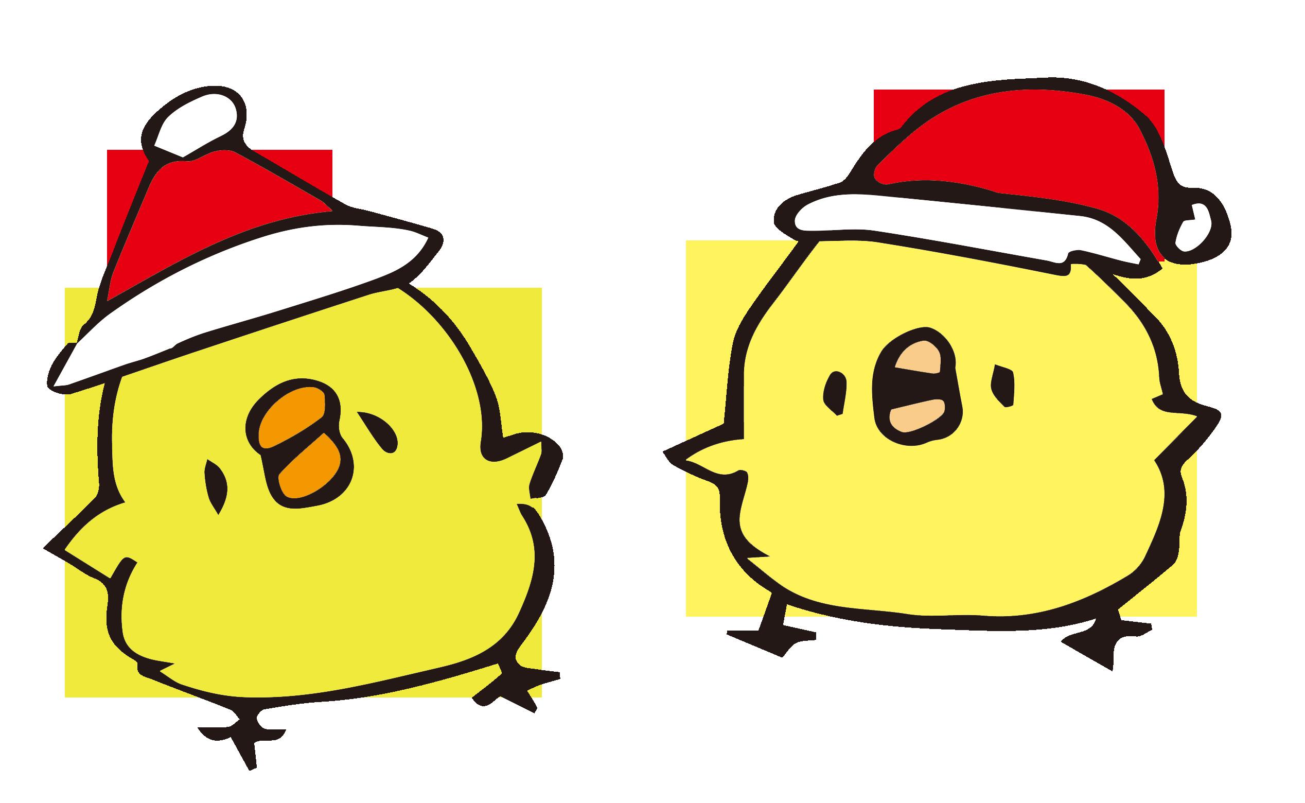 クリスマス気分の丸っこいひよこ
