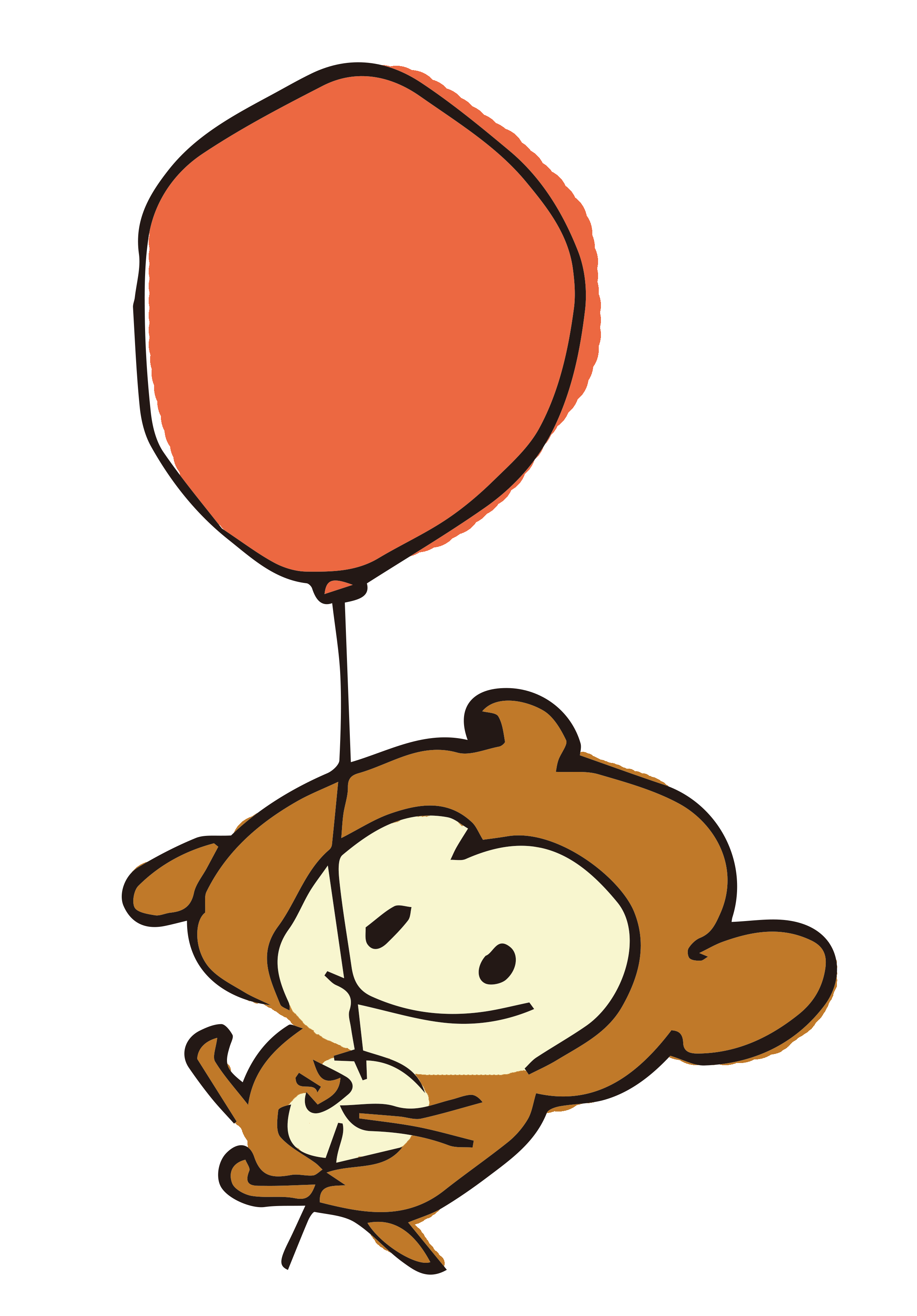 風船をもっているお猿さん