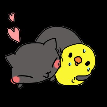 ひよこにスリスリする黒猫